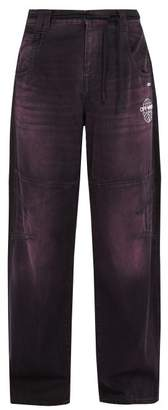 Off-White Off White Wide Leg Logo Print Jeans - Mens - Purple