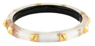 Alexis Bittar Studded Lucite Hinged Bangle Clear Studded Lucite Hinged Bangle