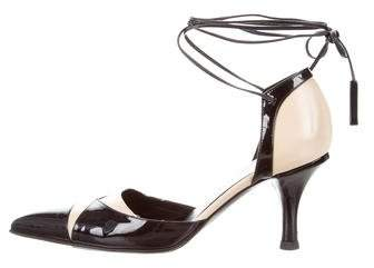 Chanel Patent Leather Lace-Up Pumps