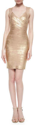 Herve Leger Crisscross Metallic Bandage Dress