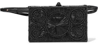 Sophie Anderson - Mia Leather-trimmed Raffia Belt Bag - Black