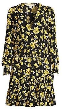 MICHAEL Michael Kors Women's Ruffled Floral Blouson Dress