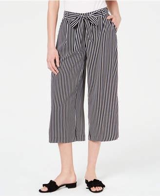 Maison Jules Striped Wide-Leg Tie-Front Capri Pants