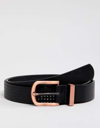 Asos Design DESIGN faux leather slim belt in black with burnished rose gold buckle and metal keeper