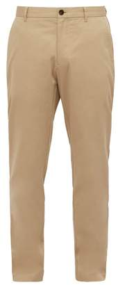 Burberry Icon Stripe Slim Leg Cotton Twill Chino Trousers - Mens - Camel