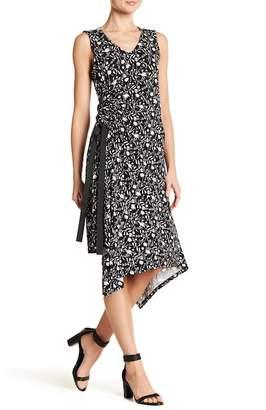 Ellen Tracy Asymmetrical Hem Sleeveless Floral Dress