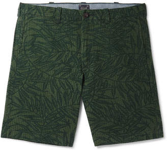 J.Crew Printed Cotton-Seersucker Shorts - Green