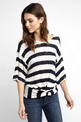 Anama Stripe Knot Short Sleeve Top