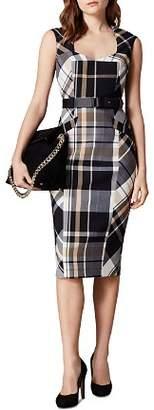 Karen Millen Belted Check Sheath Dress