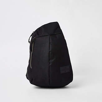 River Island Black single strap zip-up backpack