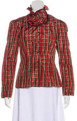 Oscar de la Renta Long Sleeve Button-Up Blouse