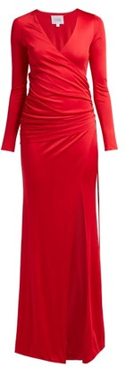 Galvan Allegra Ruched Side Jersey Gown - Womens - Red