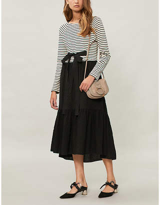 See by Chloe Striped belted knitted midi dress