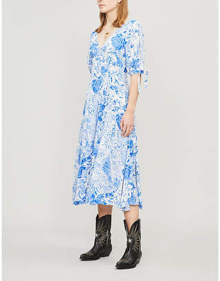 Free People Forever Always pleated floral-print crepe midi dress