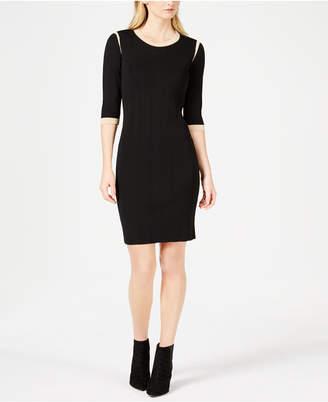 Marella Gaspare Colorblocked-Trim Crewneck Dress