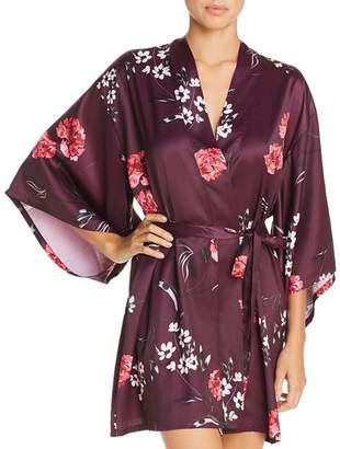Josie Freestyle Floral Print Satin Short Robe