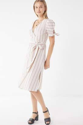 Moon River Striped Wrap Midi Dress