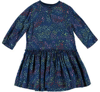 Stella McCartney Long-Sleeve Multicolored Star Dress, Size 4-14