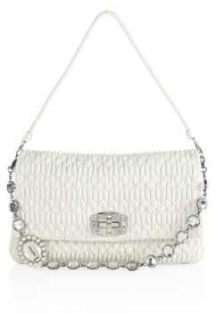 Miu Miu Miu Miu Nappa Crystal Large Leather Pouchette