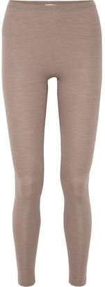Hanro Wool And Silk-blend Leggings - Taupe