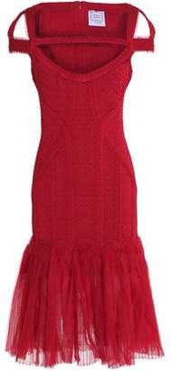 Herve Leger Cutout Ruffled Tulle And Bandage-Cloqué Dress