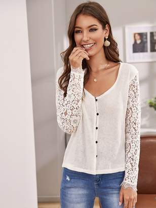 Shein Button Front Sheer Lace Sleeve Cardigan