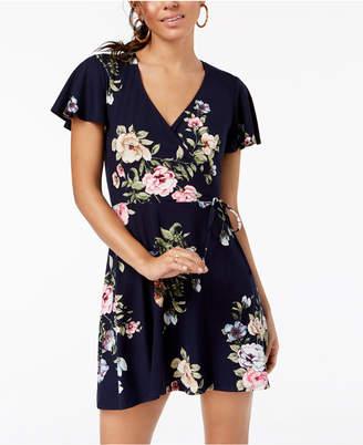 BCX Juniors' Floral-Print Wrap Dress