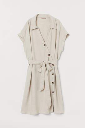 H&M Linen-blend Shirt Dress - Beige