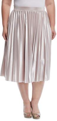 Rachel Roy Pleated Metallic A-Line Skirt, Plus Size