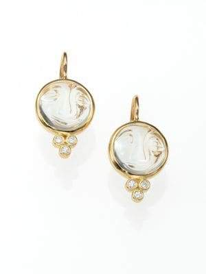 Temple St. Clair Celestial Rock Crystal, Diamond& 18K Yellow Gold Small Moonface Earrings