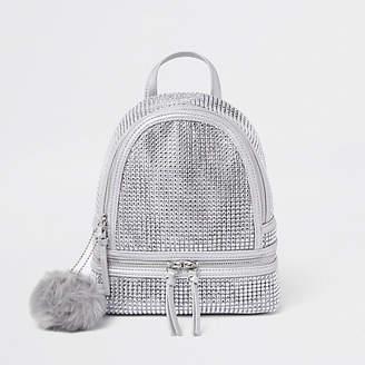 River Island Silver rhinestone embellished backpack