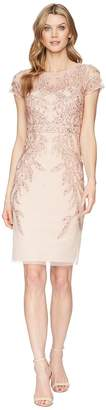 Adrianna Papell Short Sleeve Beaded Cocktail Dress Women's Dress