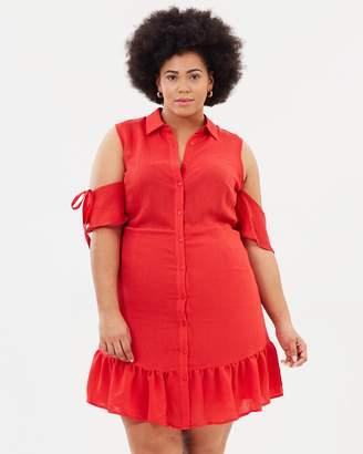 Shirt Dress with Frill Hem