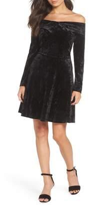Chelsea28 Off-the-Shoulder Velour Fit & Flare Cocktail Dress