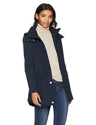 Kenneth Cole New York Women's Mid Length Zip Anorak Jacket Removmable Hood