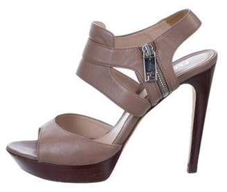 Fendi Leather Platform Sandals silver Leather Platform Sandals