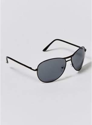 Topman Mens Black Aviator Sunglasses