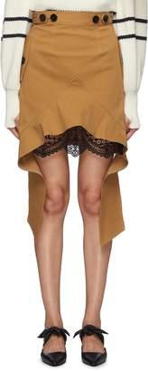 Self-Portrait Lace trim underlay drape panel twill skirt