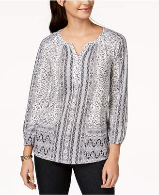 Style&Co. Style & Co Petite Printed Split-Neck Top