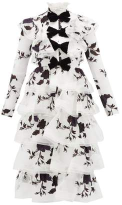 Erdem Alcina Tiered Floral Embroidery Silk Organza Dress - Womens - Ivory Multi