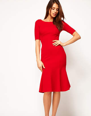 Asos Exclusive Seamed Bodycon Dress With Trumpet Hem