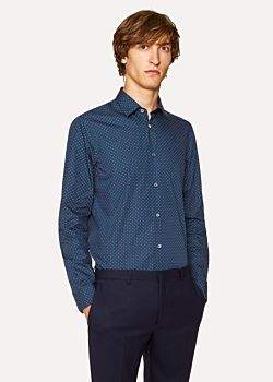Paul Smith Men's Tailored-Fit Navy 'Heart' Motif Cotton Shirt With 'Artist Stripe' Cuff Lining