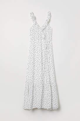 H&M Long Flounced Dress - White