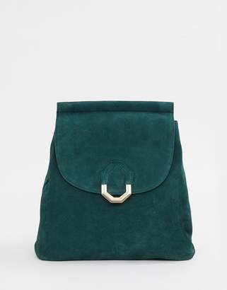 Asos Design DESIGN suede backpack with hexagonal ring detail c79c1fe8ae720