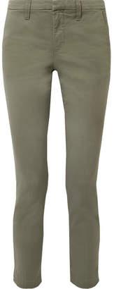 J Brand Clara Cotton-blend Twill Slim-leg Pants - Gray green