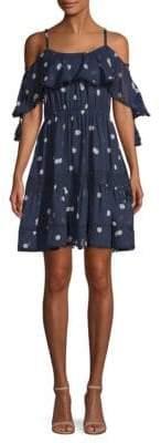 Kate Spade Madison Avenue Cold-Shoulder Polka Dot Mini Fit-&-Flare Dress