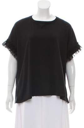 Brunello Cucinelli Tulle-Accented Scoop Neck T-Shirt