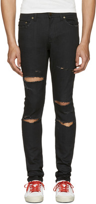 Saint Laurent Black Original Low Waisted Skinny Jeans $850 thestylecure.com