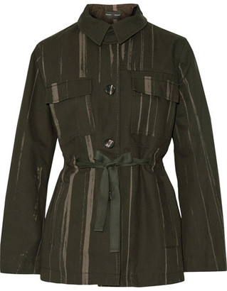Proenza Schouler - Printed Cotton-canvas Jacket - Army green $1,195 thestylecure.com