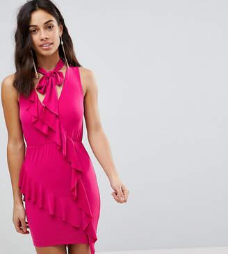 Asos Ruffle Mini Bodycon Dress with Bow Neck